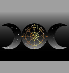 Triple moon wicca pagan goddess wheel year vector