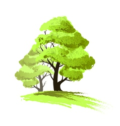 Two trees drawing isolated vector image
