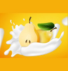 two yellow pears and yogurt milk splashes vector image