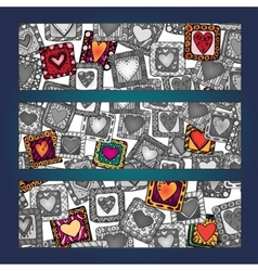 Unique abstract hand drawn ethnic pattern card set vector image