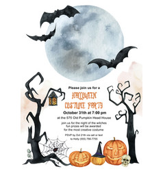 Watercolor invitation to a halloween party vector