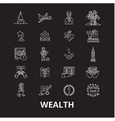 wealth editable line icons set on black vector image