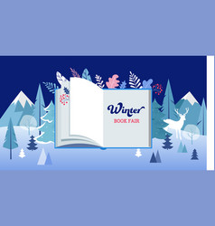 Winter wonderland book fair banner with open book vector