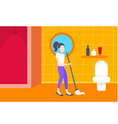 Woman cleaning bathroom housewife mopping floor vector