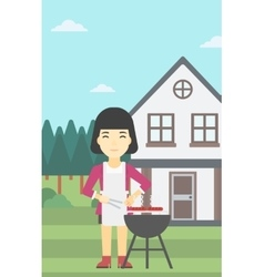 Woman cooking meat on barbecue grill vector