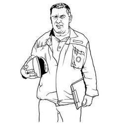 Worker in work suit vector