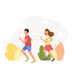 young couple running vector image
