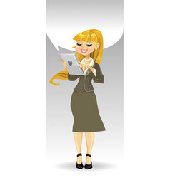 Blond girl with tablet computer and speech bubble vector image vector image