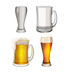 collection of empty beer mugs and with light vector image