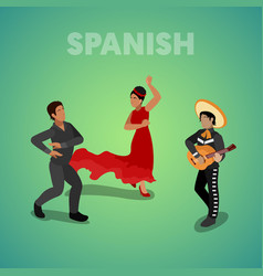 isometric spanish dancing people vector image vector image