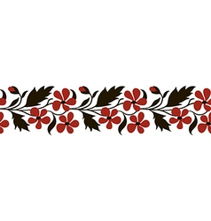 Seamless border with red flowers vector image vector image
