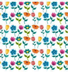 seamless pattern painting flowers decoration vector image