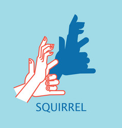 shadow theater hands gesture like squirrel vector image vector image