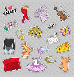 Ballet stickers badges patches set vector