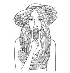 eat ice cream vector image