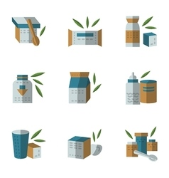 Flat style icons for baby food vector image