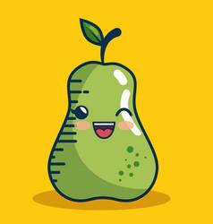 pear fresh fruit character handmade drawn vector image
