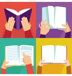 set of hand holding books vector image vector image