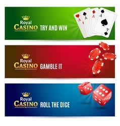 Casino banner gambling set Poker roulette Chips vector image