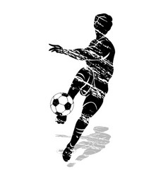 grunge silhouette soccer player vector image