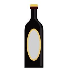 black bottle wine yellow cap blank label vector image
