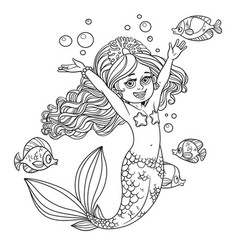cute happy little mermaid girl outlined isolated vector image