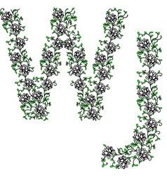 hand drawing ornamental alphabet letter wj vector image