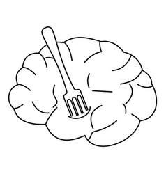 human brain with fork icon outline style vector image