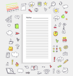 notes and collection of icons vector image vector image