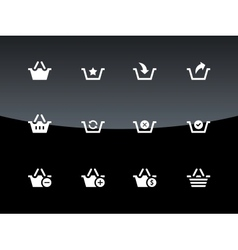 Shopping Basket icons on black background vector image vector image