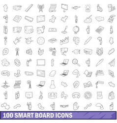 100 smart board icons set outline style vector
