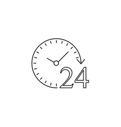 24 hours line icon customer service support vector
