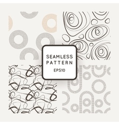 A set of four seamless patterns of curled vector image