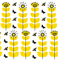 Abstract dandelion seed and honey bees seamless vector