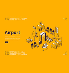 airport isometric landing page passenger control vector image