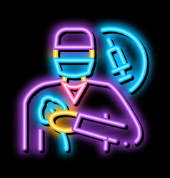 Anesthesiologist medical worker neon glow icon vector