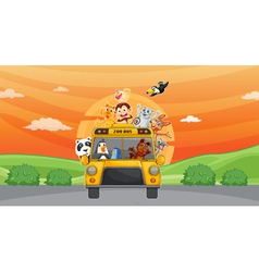 Animals and zoo bus vector