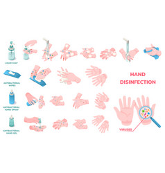 antiviral hand wash hygiene disinfection icons vector image