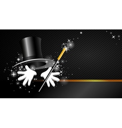 Background with top hat magic wand and hand vector
