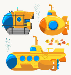 Bathyscaphe cartoon yellow submarine sea research vector