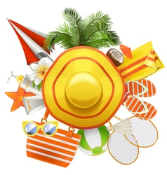 Beach Accessories with Hat vector image