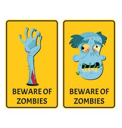 Beware of zombies labels with monster body parts vector