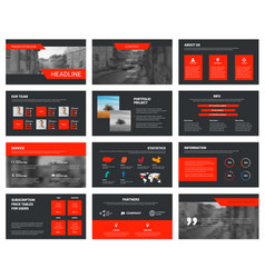 Black slides template with red elements vector