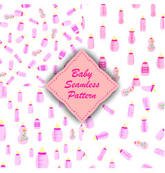 bottle baby set of seamless patterns for kids vector image