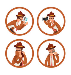 cartoon detective avatars set vector image