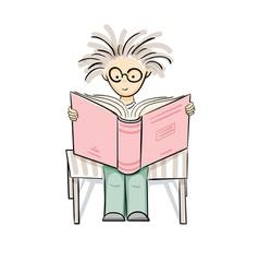 Cartoon reading boy vector