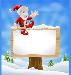 Cartoon santa christmas sign vector