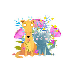Cat and dog with flowers flat vector