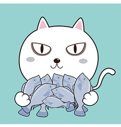 Cat hug fish vector