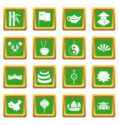 China travel symbols icons set green vector